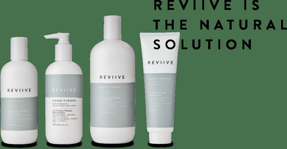 REVIIVE est un ensemble de produits ariix pour votre hygiène corporelle. Reviive est composée d'un apres shampoing, d'un shampoing, d'un gel douche et d'un dentifrice.