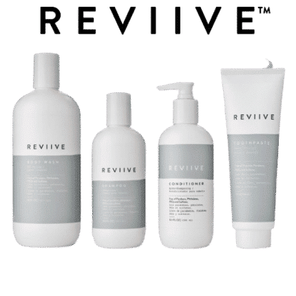 The Reviive range is a set of personal hygiene products. The Reviive range is composed of a conditioner, a shampoo, a shower gel and a toothpaste.
