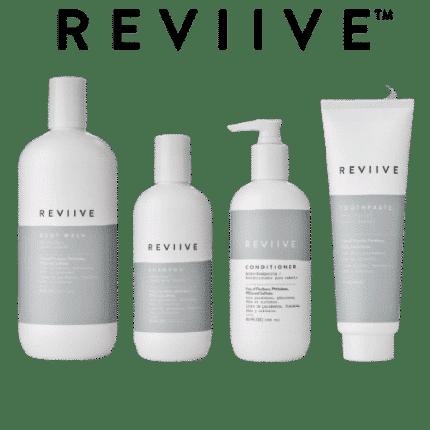 La gamme Reviive est un ensemble de produit d'hygiène corporelle. La gamme Reviive est composée d'un après shampoing, d'un shampoing, d'un gel douche, et d'un dentifrice.