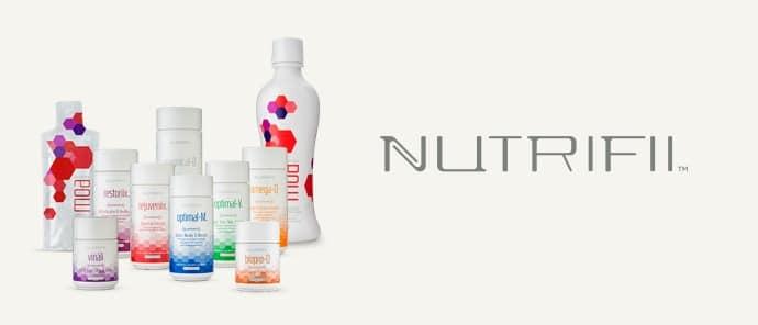 Nutrifii est la gamme de compléments alimentaires de Ariix. Nutrifii est composé du Moa, du Vinali, du Rejuveniix, du Restoriix, du Biopro Q, de l'Omega-Q et des optimals V et M.