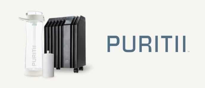 PURITII est une gamme d'ARIIX composée d'une gourde filtrante purifiante et d'un système de filtration d'air pur.
